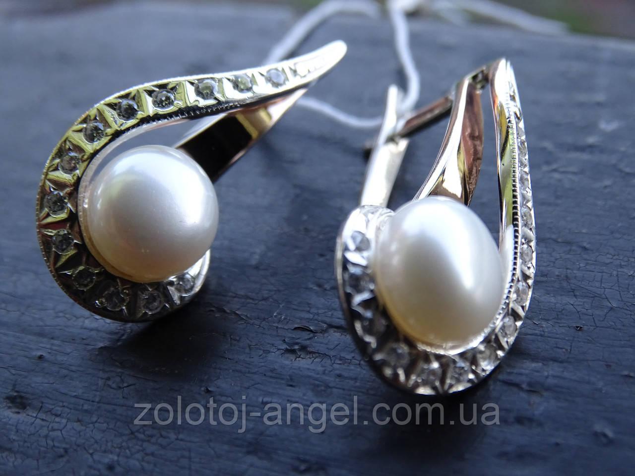 Cерьги серебряные с золотой пластиной и жемчугом