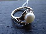 Cерьги серебряные с золотой пластиной и жемчугом, фото 2