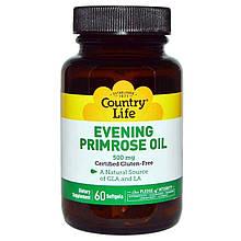 "Масло примулы вечерней Country Life ""Evening Primrose Oil"" 500 мг (60 капсул)"