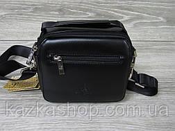 Мужская сумка через плечо черного цвета из искусственной кожи, несколько отделов, без клапана 19х16 см, фото 3