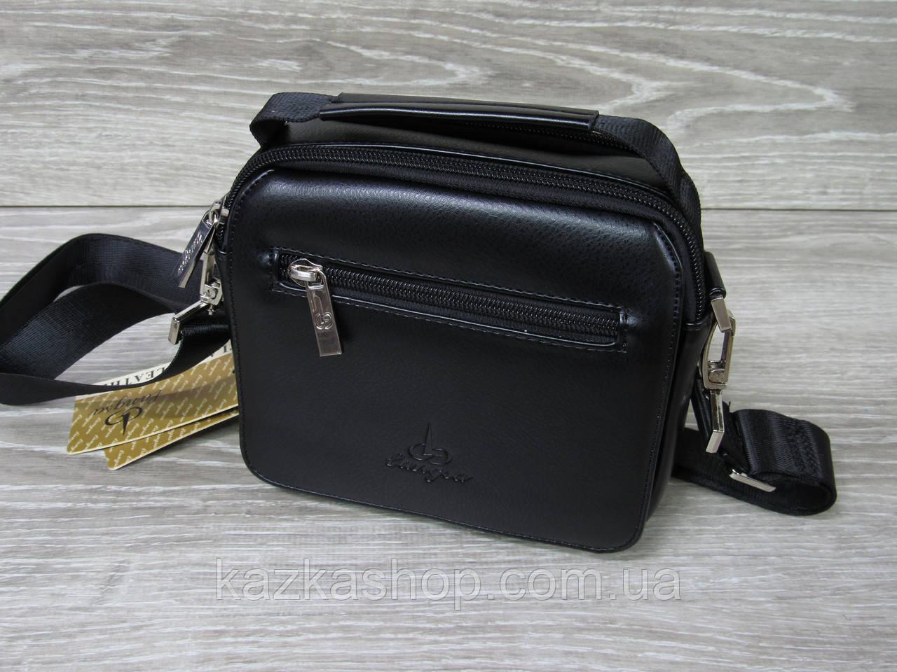 Мужская сумка через плечо черного цвета из искусственной кожи, несколько отделов, без клапана 19х16 см