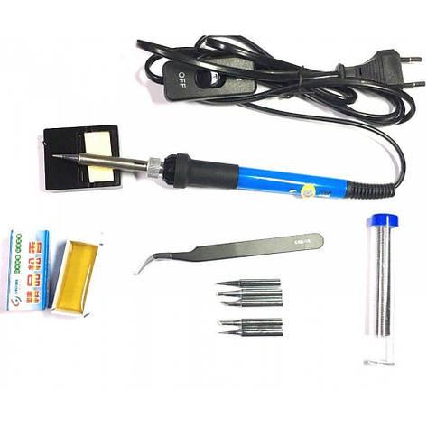 Паяльный набор HandsKit 936-S (паяльник с регулировкой температуры+подставка+5 жал+припой+пинцет), фото 2
