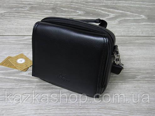 Мужская сумка через плечо черного цвета из искусственной кожи, несколько отделов, с клапаном 19х16 см, фото 2