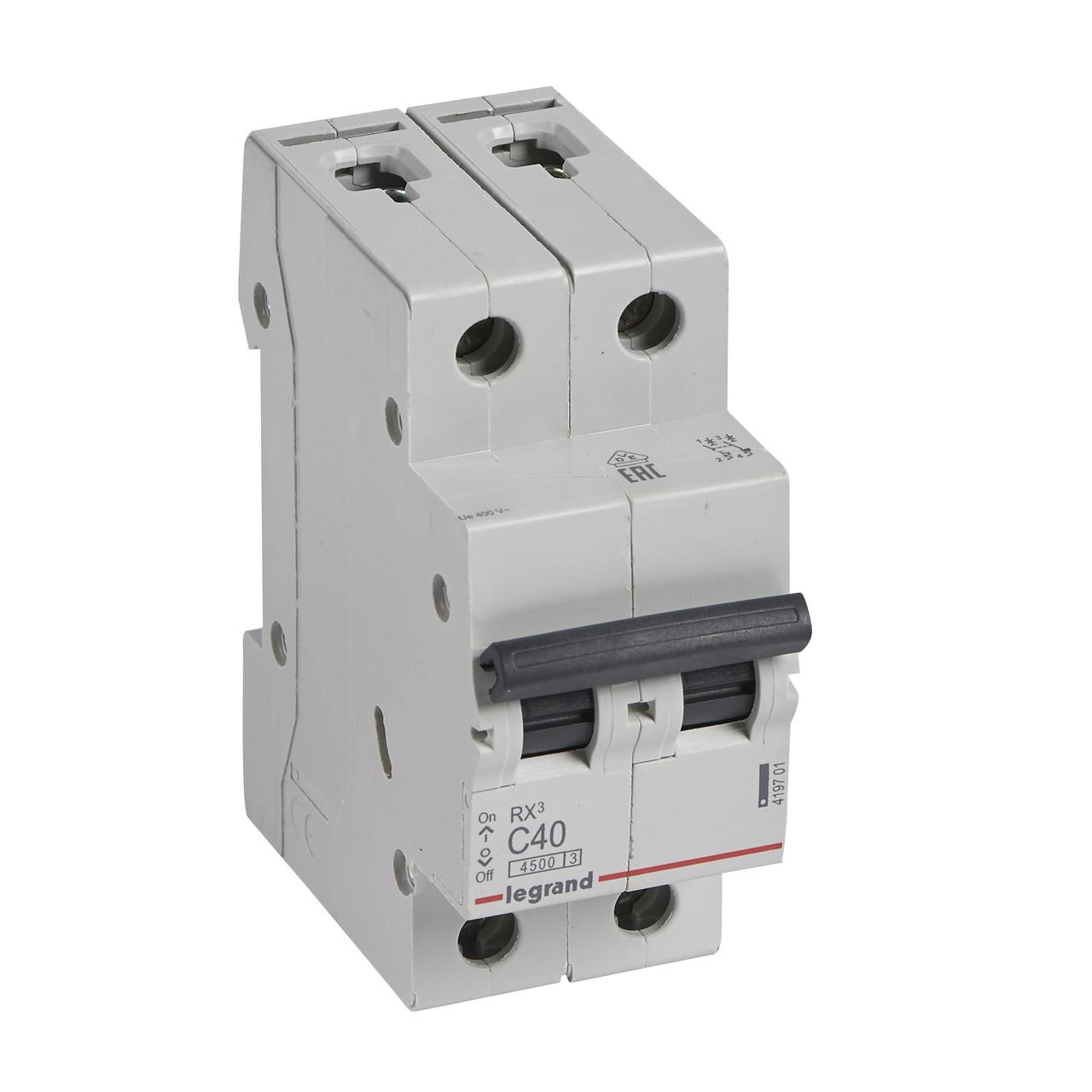 2 пол., 40А, 4,5кА, С, Legrand, Автоматичний вимикач, RX3 [419701]