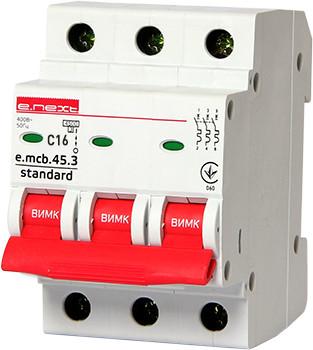 Модульный автоматический выключатель e.mcb.stand.45.3.C16, 3р, 16А, C, 4,5 кА ENEXT [s002031]
