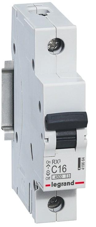 1 пол., 16А, 4,5кА, С, Legrand, Автоматичний вимикач, RX3 [419664]