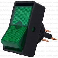 Переключатель с подсветкой ASW-11D ON-OFF, 3pin, 12V, 20А, зелёный