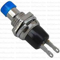Кнопка малая PBS-10B-2 без фиксации ON-(OFF), 2pin, 1А, 250V, синяя