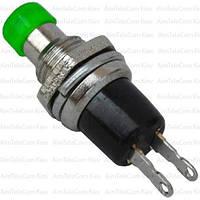 Кнопка малая PBS-10B-2 без фиксации ON-(OFF), 2pin, 1А, 250V, зелёная