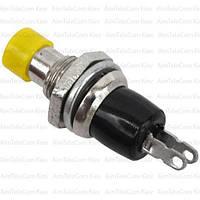 Кнопка малая PBS-10B-2 без фиксации ON-(OFF), 2pin, 1А 250V, жёлтая