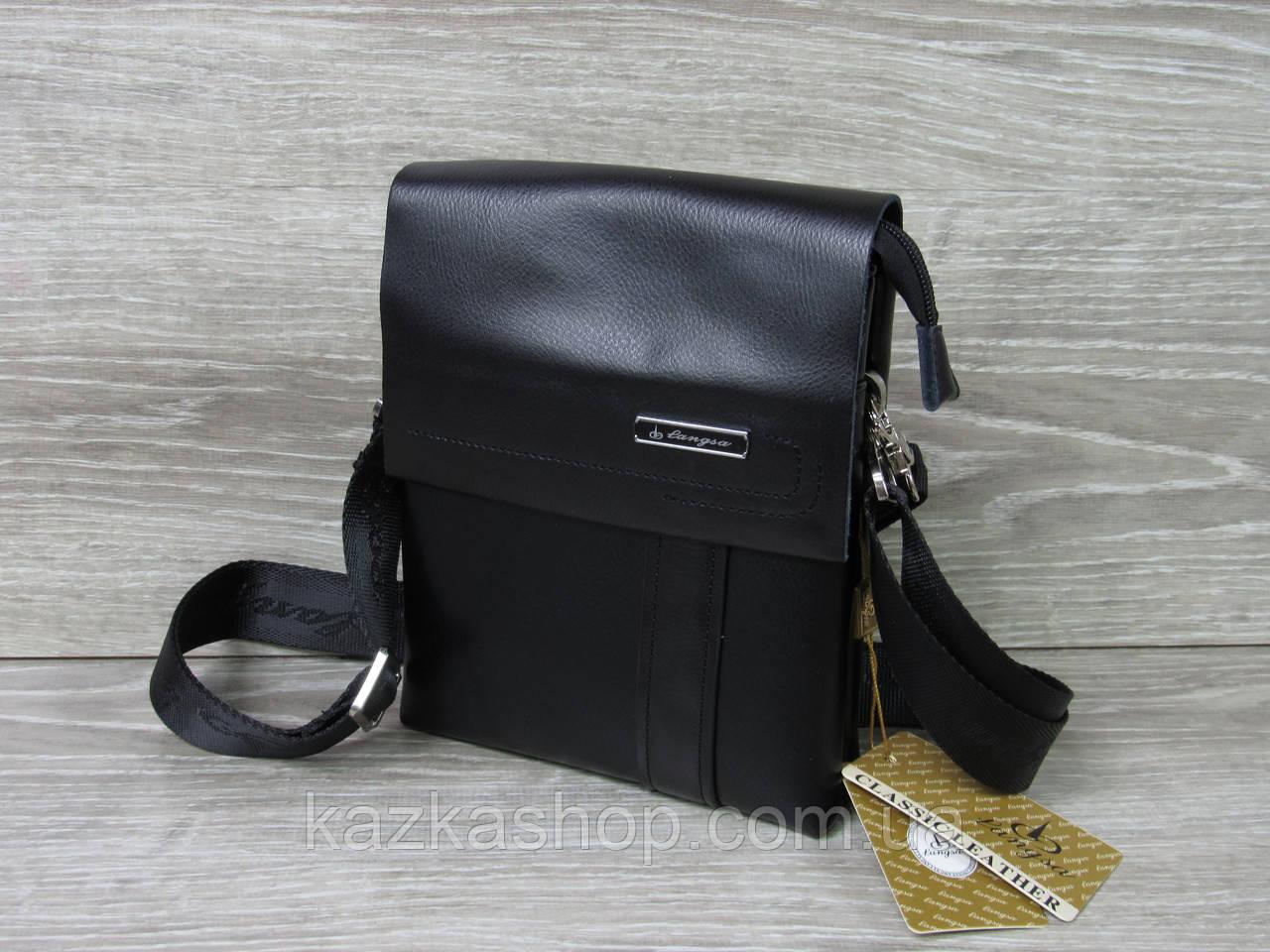 Мужская сумка через плечо черного цвета из искусственной кожи, несколько отделов, с клапаном 18х22 см