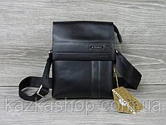 Мужская сумка через плечо черного цвета из искусственной кожи, несколько отделов, с клапаном 18х22 см, фото 3