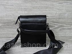 Мужская сумка через плечо черного цвета из искусственной кожи, несколько отделов, с клапаном 15х19 см, фото 3