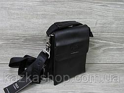 Мужская сумка через плечо черного цвета из искусственной кожи, несколько отделов, с клапаном 15х19 см, фото 2