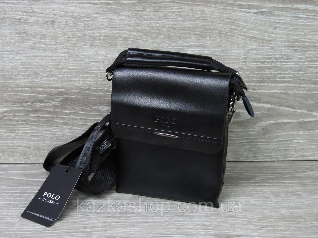 Мужская сумка через плечо черного цвета из искусственной кожи, несколько отделов, с клапаном 15х19 см