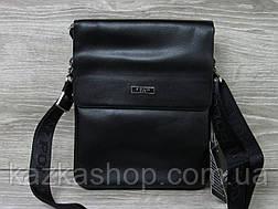 Мужская сумка через плечо черного цвета из искусственной кожи, несколько отделов, с клапаном 22х27 см, фото 2