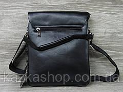 Мужская сумка через плечо черного цвета из искусственной кожи, несколько отделов, с клапаном 22х27 см, фото 3