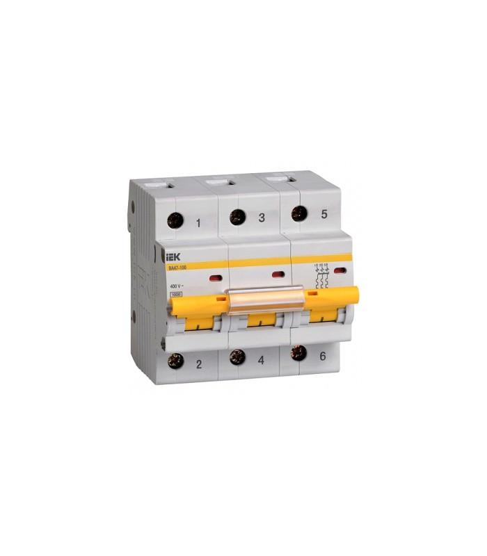Автоматичний вимикач ВА47-100 3Р 80А 10кА з ІЕК [MVA40-3-080-C]