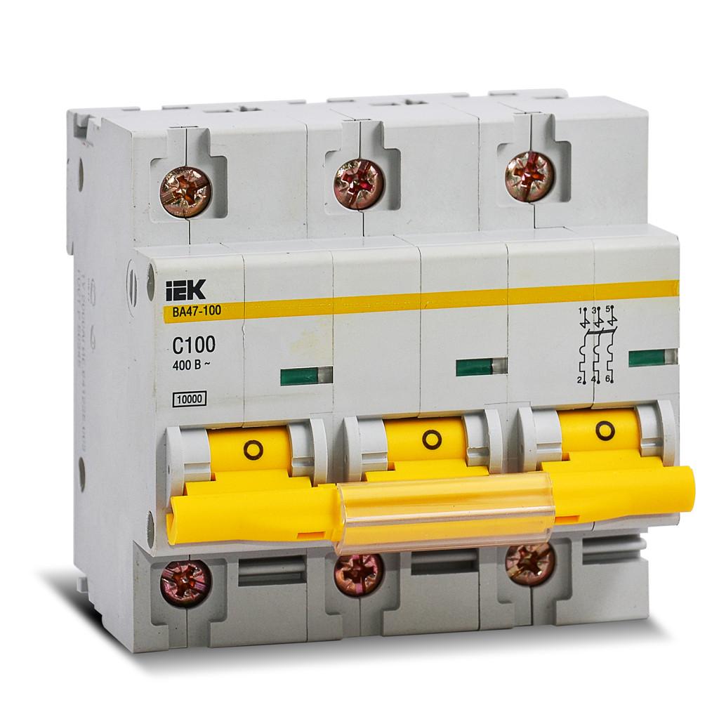 Автоматический выключатель ВА47-100 3Р 100А 10кА С ІЕК [MVA40-3-100-C] ИЕК