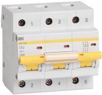 Автоматический выключатель ВА47-100 3Р 63А 10кА D ІЕК [MVA40-3-063-D] ИЕК