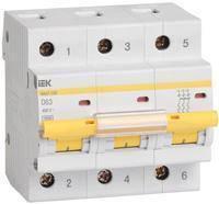 Автоматичний вимикач ВА47-100 3Р 63А 10кА D ІЕК [MVA40-3-063-D]