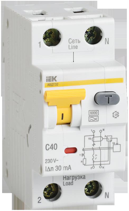 Автоматический выключатель дифференциального тока АВДТ32 C40 30мА ІЕК [MAD22-5-040-C-30] ИЕК