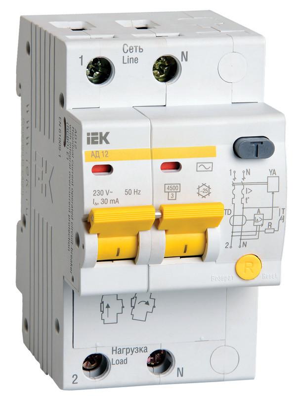 Диференціальний автоматичний вимикач АД12 2Р 25А 30мА ІЕК [MAD10-2-025-C-030]