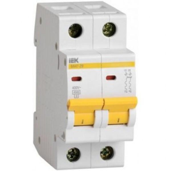 Автоматичний вимикач ВА47-29 2Р 63А 4,5кА з ІЕК [MVA20-2-063-C]