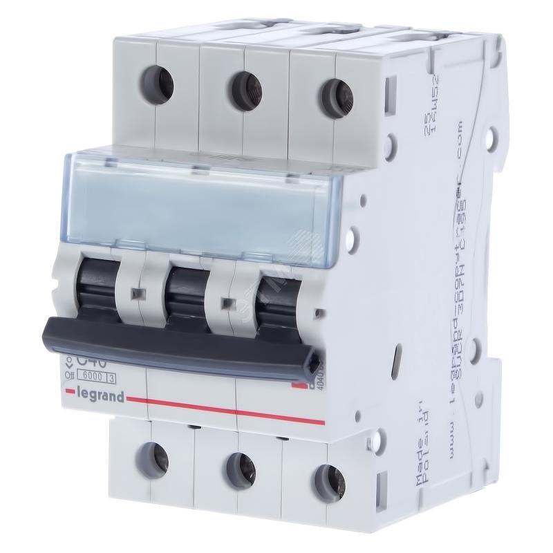 3 пол., 40А, 6кА, С, Legrand, Автоматичний вимикач, TX3 [404060]