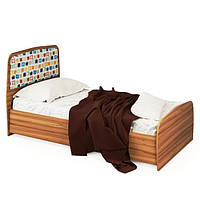 Односпальне ліжко 90 в дитячу чи спальню з ДСП Колібрі Горіх Маріно / Жасміновий Світ Меблів