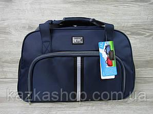 Дорожная сумка хорошего качества, среднего размера 50х33х23 см, плотный материал Синий