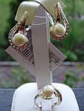 Cерьги серебряные с золотой пластиной и жемчугом, фото 3