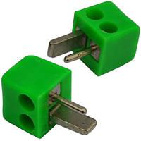 Штекер колоночный 2-х контактный, под винт, квадратный, зелёный