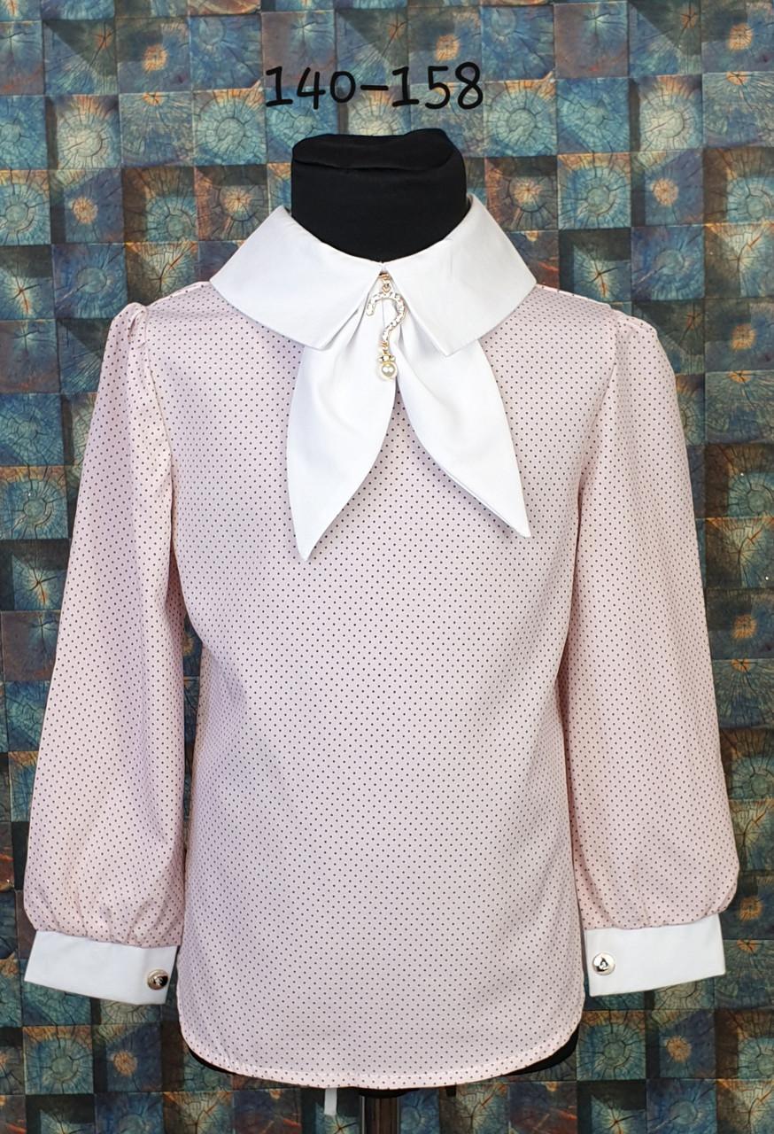 Блузка с галстучком  140-158 пудра+белый