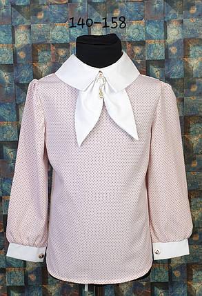 Блузка с галстучком  140-158 пудра+белый, фото 2