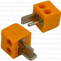 Штекер колоночный 2-х контактный, п\винт, квадратный, жёлтый