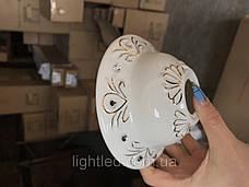 Белая гипсовая люстра на 5 плафонов, фото 3