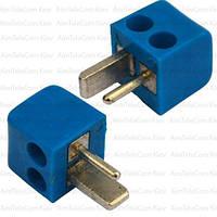 Штекер колоночный 2-х контактный, п\винт, квадратный, синий