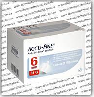 Иглы Accu-Fine для инсулиновых шприц-ручек 6 мм (31G х 0,25 мм)