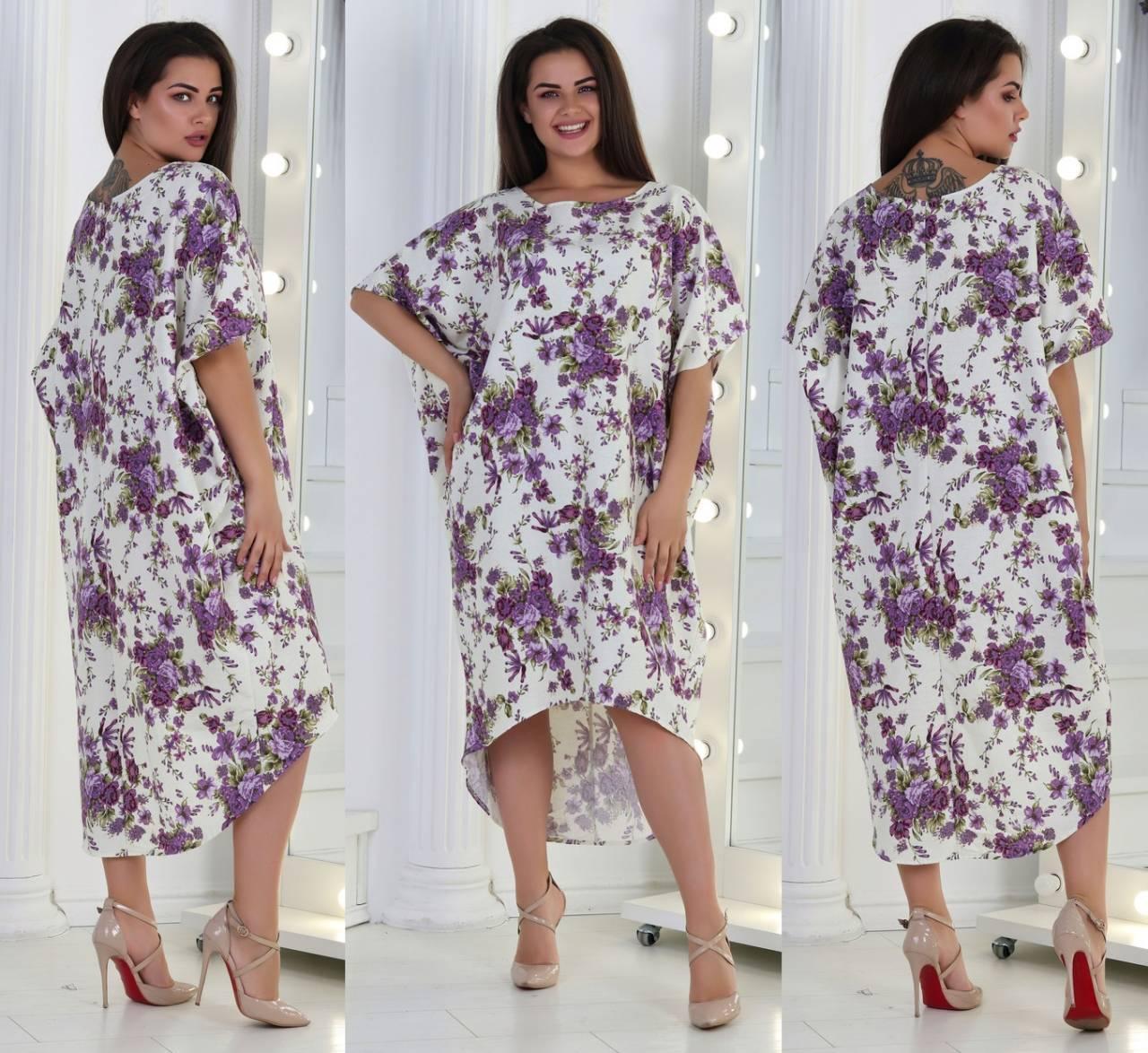 Летнее широкое платье из льна в цветочный принт, удлиненное сзади, батал большие размеры