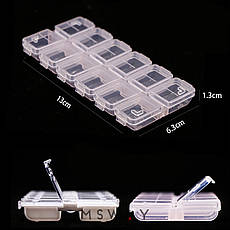 Контейнер 12в1 мятная с прозрачной закрывающейся крышкой 7х13х1,5см, фото 3
