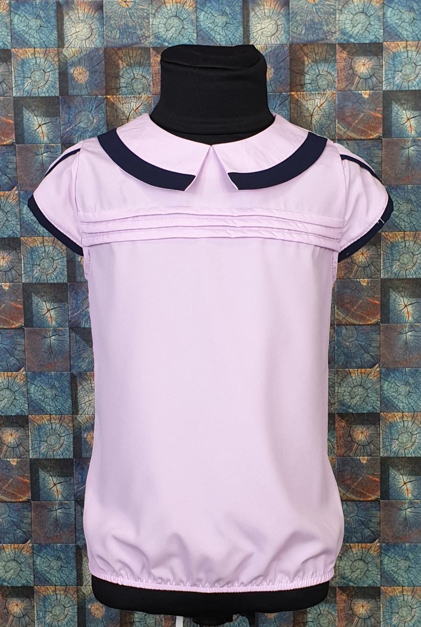 Школьная блузка Эрика 122-146 фиалковый + темно-синий