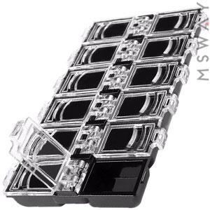 Контейнер 12в1 черная с прозрачной закрывающейся крышкой 7х13х1,5см