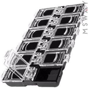 Контейнер 12в1 черная с прозрачной закрывающейся крышкой 7х13х1,5см, фото 2