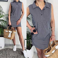 Женское модное платье-сарафан с рубашечным воротничком, фото 1