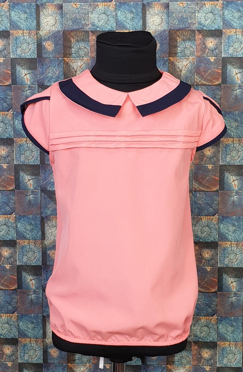 Школьная блузка Эрика 122-146 коралловый + темно-синий