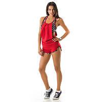 Короткий красный летний костюм Спорт женский  155jn-red