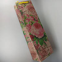 Пакет подарочный под бутылку 12*36*10см Крафт БУТ-44