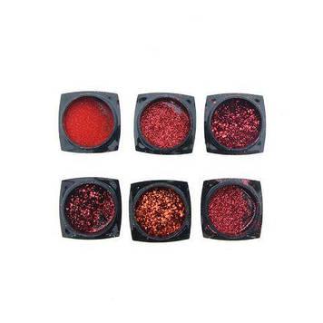 Слюда для декору нігтів, 6 шт red