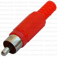 Штекер RCA  под шнур, корпус пластик, красный, 1уп-100шт